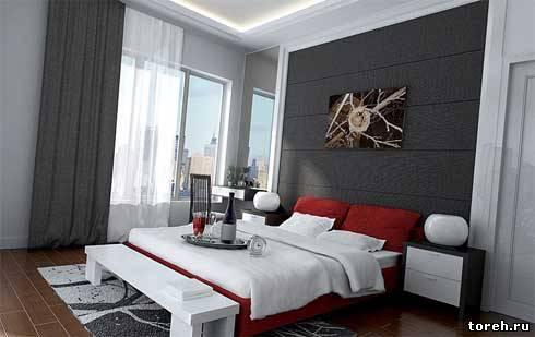 интерьер простой спальни