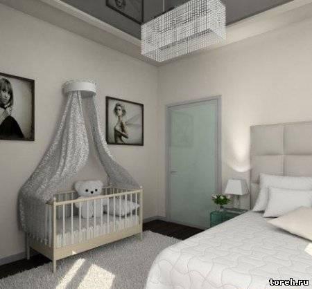 Интерьер спальни совмещенной с